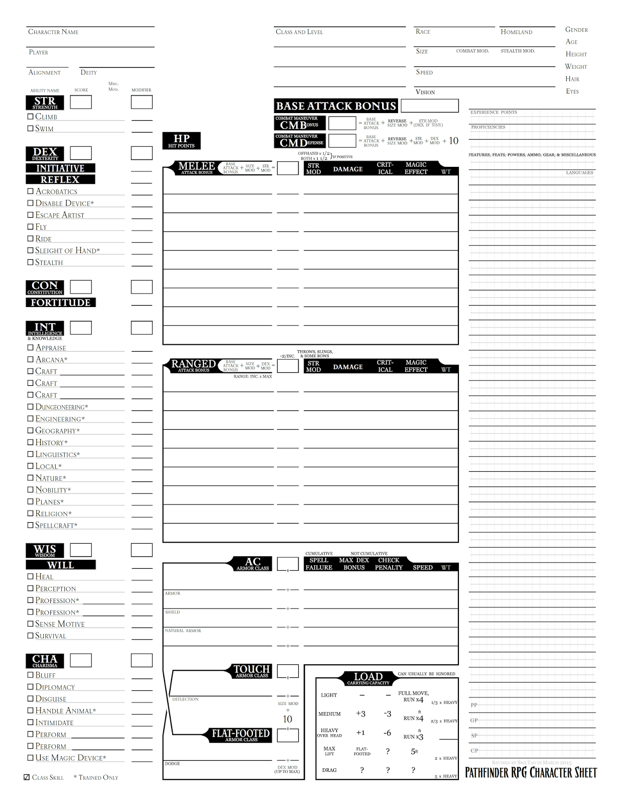 pathfinder character sheet printable skiltao 39 s gaming pathfinder character sheet revised 23913 | pathfinder%2Bcharacter%2Bsheet%2B(skiltao%2Brevision)