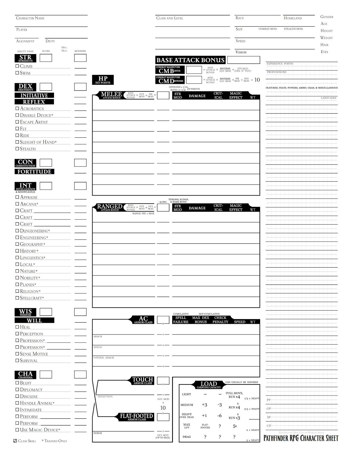 Skiltao S Gaming Blog Pathfinder Character Sheet Revised