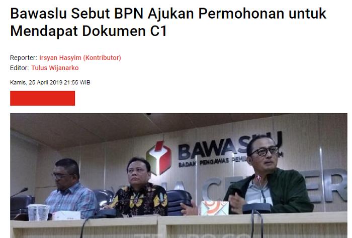 BPN Minta Dokumen C1 Ke Bawaslu, Klaim Kemenangan Prabowo