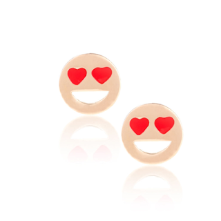 Aanaya Priyanka - Rose Gold Heart Earrings - Emoji Jewellery