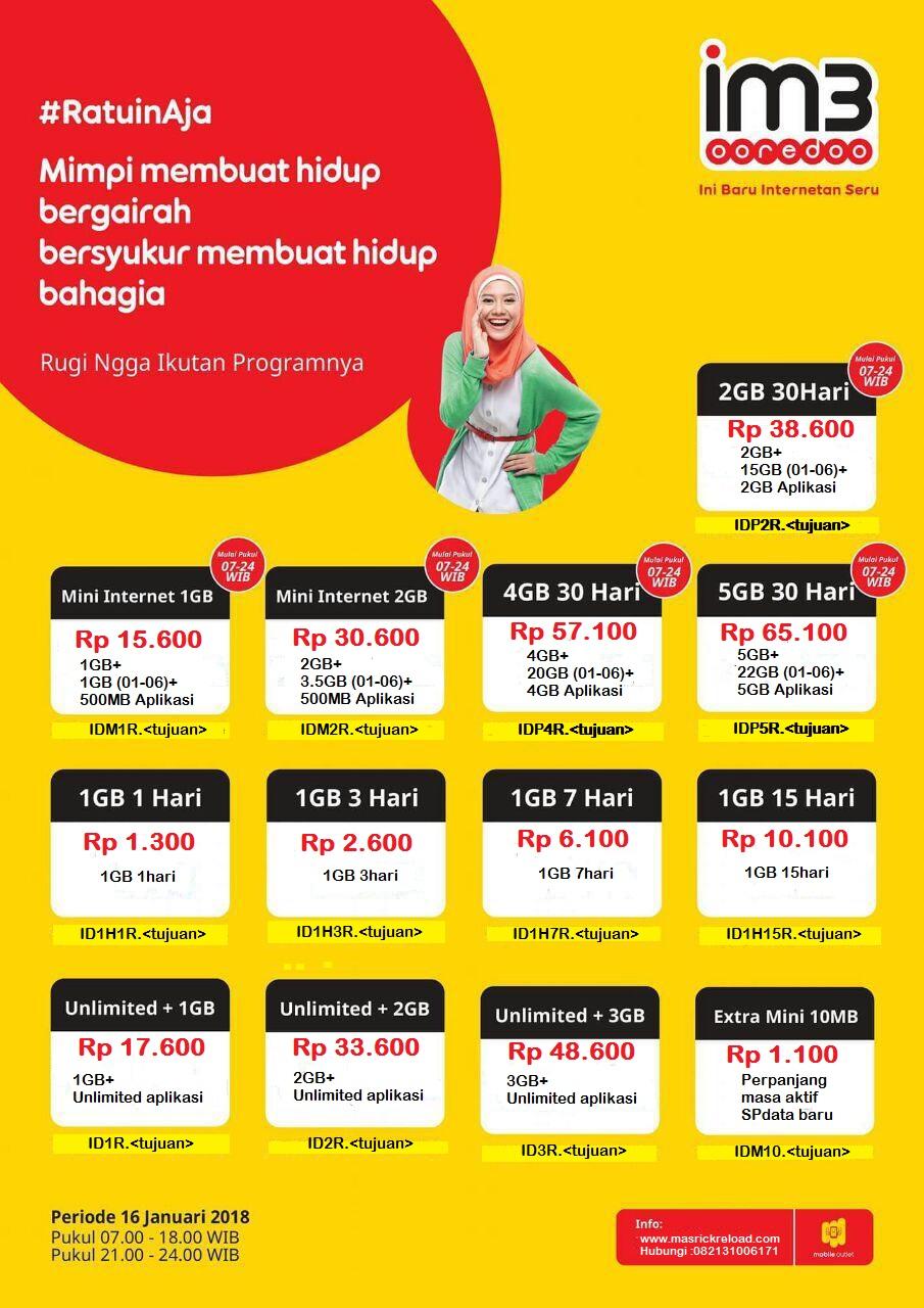 Masrick Reload Indosat Data Ratu Yellow 1gb 7 Hari