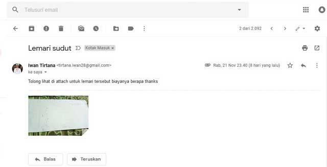 Permintaan harga melalui email