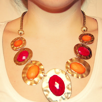 Colourful statement necklace