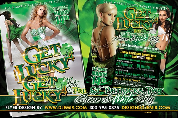 Get Lucky 4 Green And White Pre St. Patrick's Day Party Flyer