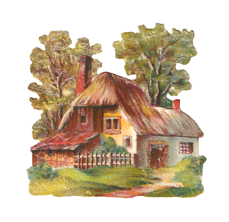 Pictures Of English Cottages From The 1920 S With Attached: Antique Images: Free Digital House Clip Art: Digital