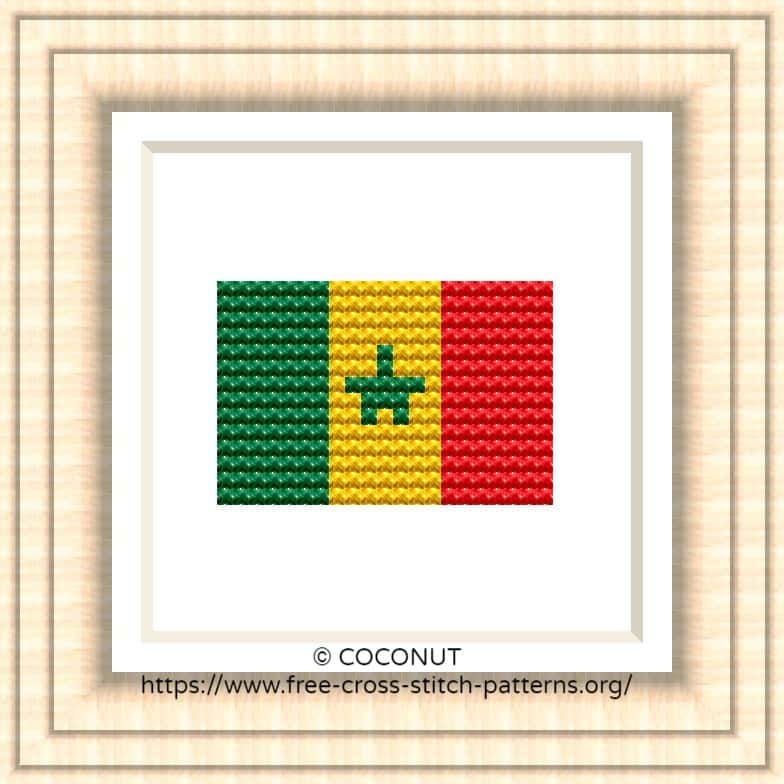 NATIONAL FLAG OF SENEGAL CROSS STITCH CHART