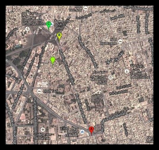 Comer en Marrakech mapa restaurantes