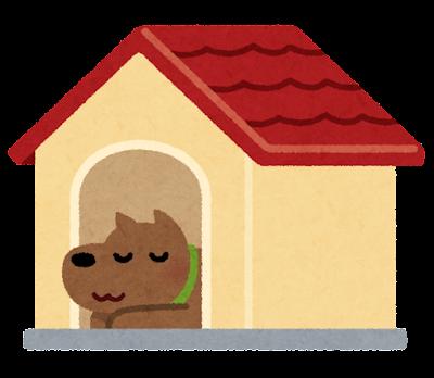 犬小屋のイラスト(犬付き)