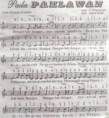 Lirik Lagu Dan Notasi (Partitur) Pada Pahlawan ~ Lagu Nasional Indonesia