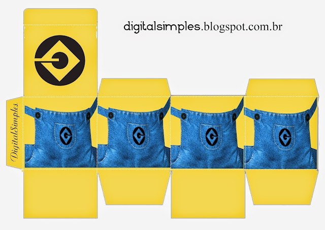 Minions Party: Free Printable Cube Box.