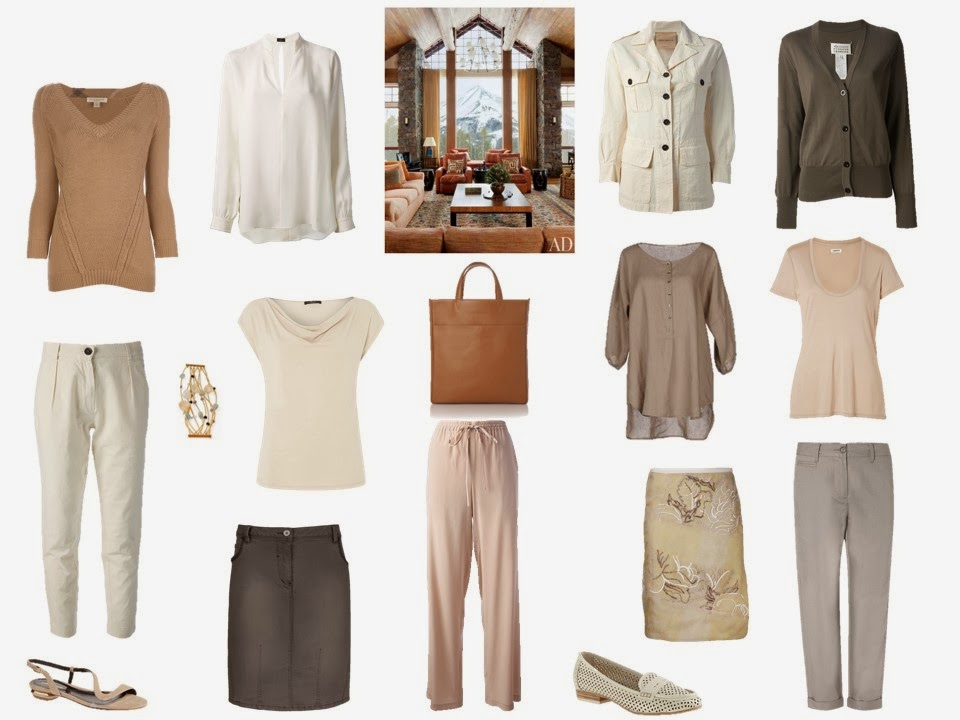12-piece capsule travel wardrobe in earth-toned neutrals, inspired by an interior photograph from Architectural Digest