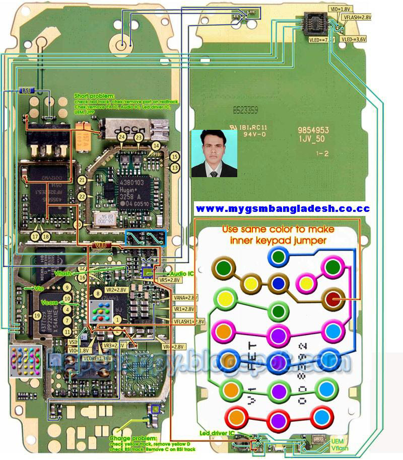 nokia 1110 layout diagram of pcb