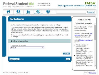 FAFSA4caster will estimate your eligibility for student aid. Image Courtesy of the Office of the U.S. Department of Education.