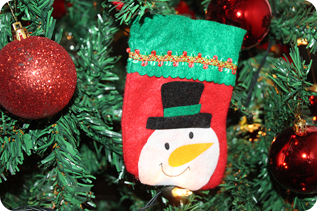 Decoração da Árvore de Natal : Bota com Boneco de Neve de Feltro