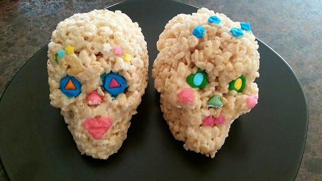 sugar skull rice krispie treats dia de las muertos Pinmeh