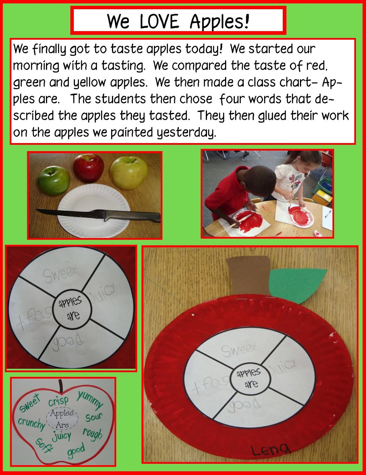 Golden Gang Kindergarten Apples Free Writing Activity