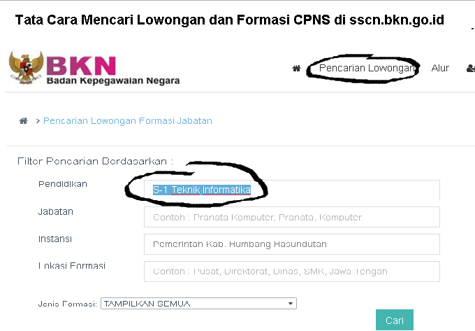 Tata Cara Mencari Lowongan dan Formasi CPNS di sscn.bkn.go.id