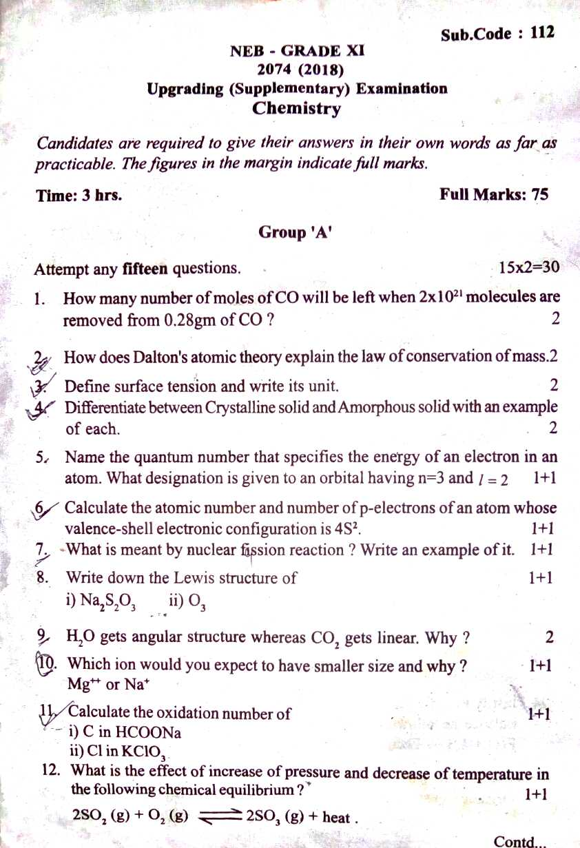 NEB GRADE 11 CHEMISTRY SUPPLEMENTARY QUESTION 2074(2018