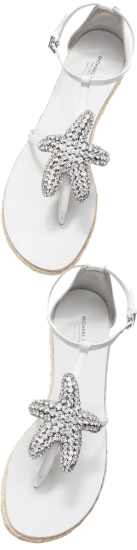 Michael Kors Collection Annabeth Starfish-Embellished Leather Sandal
