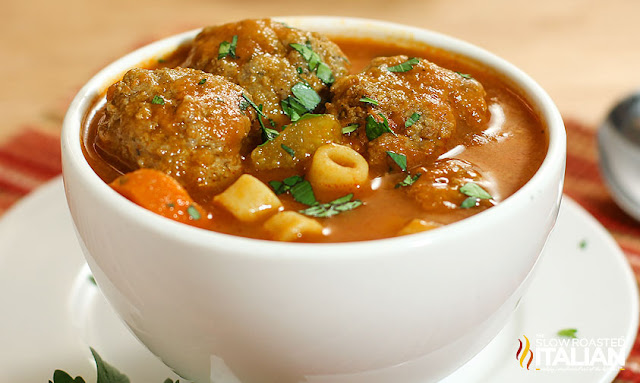 http://www.theslowroasteditalian.com/2013/01/light-italian-meatball-soup-in-just-30.html
