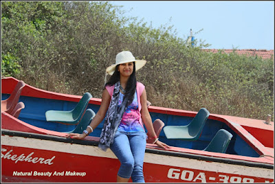 blogger Anamika at Candolim Beach specialty Scrub-covered Dunes