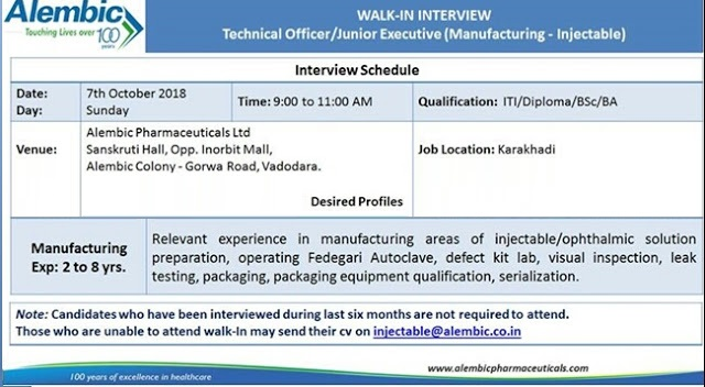 Alembic Pharmaceuticals Ltd Walk In Interview For Multiple Positions at 7 October