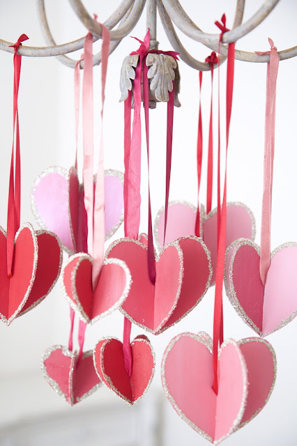 """Hearts-and-Crafts"" for Valentine's Day; hanging hearts with silk ribbon; Nora's Nest"