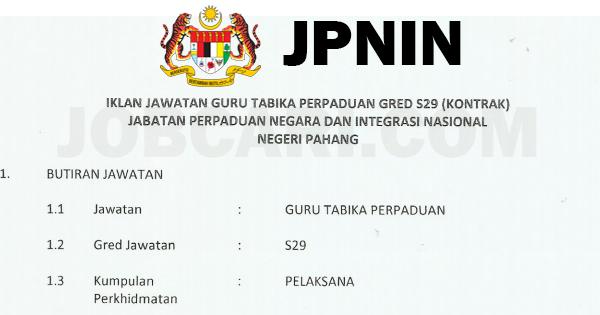 Jawatan Kosong Di Jabatan Perpaduan Negara Integrasi Nasional Jpnin Guru Tadika Perpaduan S29 Jobcari Com Jawatan Kosong Terkini