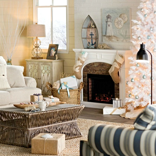 White Coastal Christmas Tree Idea Living Room Decor