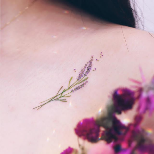 Lavender flower Tattoo for girl