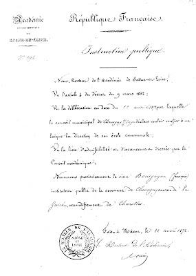Nomination de François Bourgogne à Chevagny, 22 avril 1852 (collection musée_copie AD71)