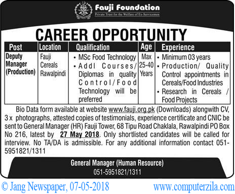 Career Opportunity at Fauji Foundation