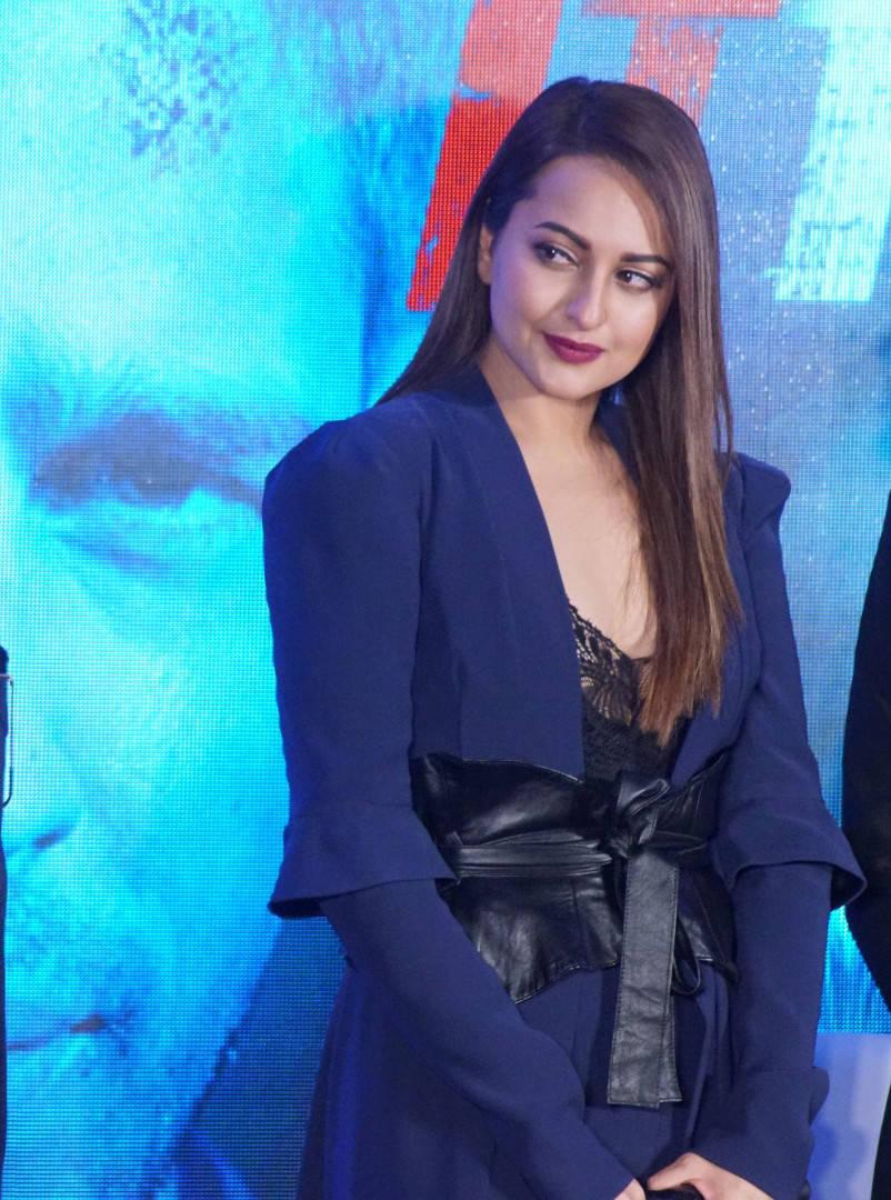 Sonakshi Sinha in Blue Jumpsuit promoting her movie Ittefaq
