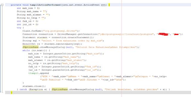 Kelas Informatika - Source Code Tampil Action Performed