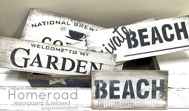 Repurposed Wine Box Hand Stenciled Signs