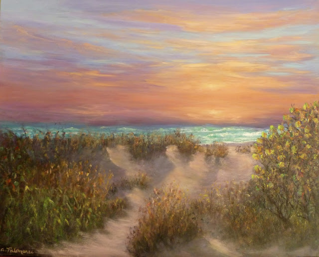 Coastal Decor Beach Painting Ocean Sunrise