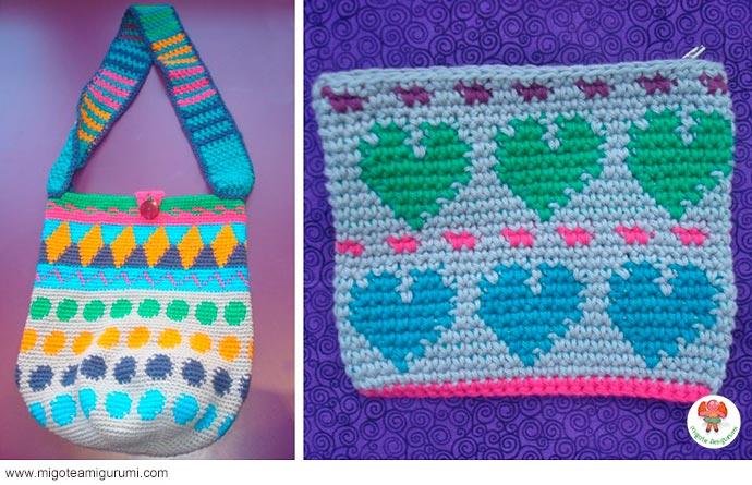 bolsos tejidos en jaquard con ganchillo - migoteamigurumi.com