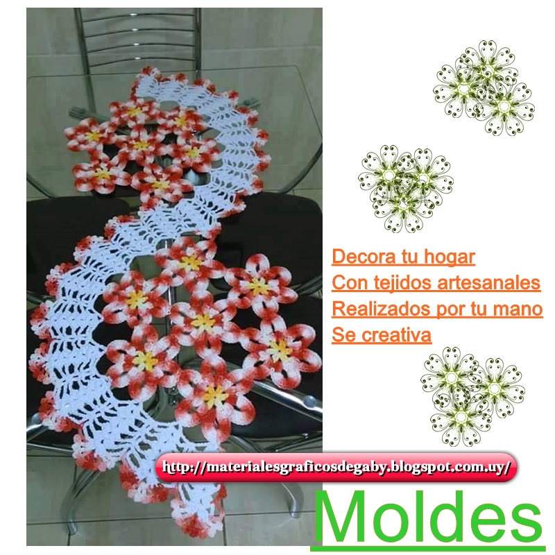 Materiales gráficos Gaby: Camino de mesa en espiral con flores
