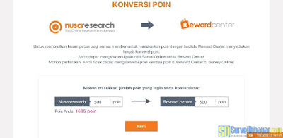 Konversi poin Nusaresearch ke Reward Center | SurveiDibayar.com