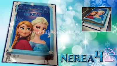 tarta personalizada fondant libro impresión comestible frozen anna elsa nerea cumpleaños 4 años laia's cupcakes puerto sagunto