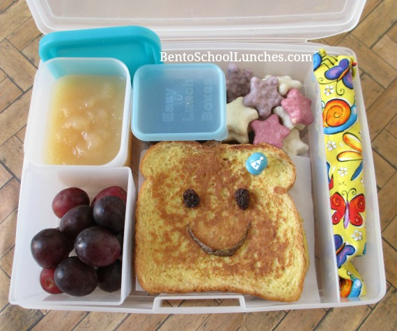 Smiley face French toast breakfast for lunch