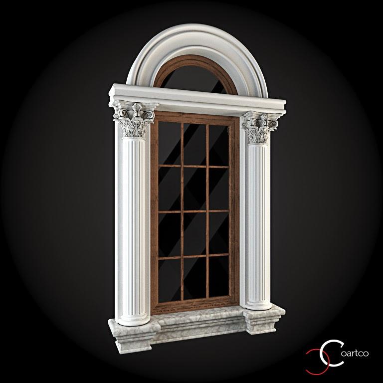 Ornamente Geamuri Exterior, Arcada fatade case cu profile decorative polistiren, profile fatada,  Model Cod: WIN-027
