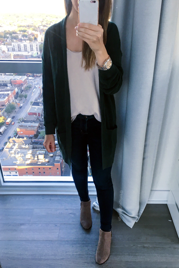 Green Cardigan, White tank, Taupe Booties, Bold watch Fall Outfit - Tori's Pretty Things Blog