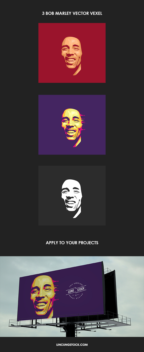 Free Download 3 Bob Marley Vector Vexel  psd file