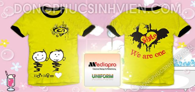 Áo lớp cổ tròn màu vàng nhạt in hình We Are One - Mẫu AL69