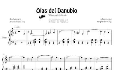 Olas del Danubio de Ion Ivanovici Partitura de Piano Fácil