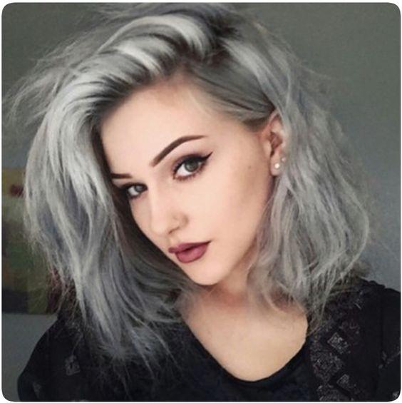 Cabelos tendências  2016 - Cabelo cor cinzenta, corte cabelo