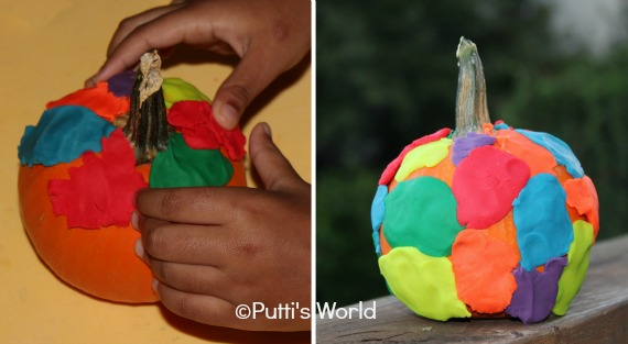 Pumpkins Decorated with Play Doh