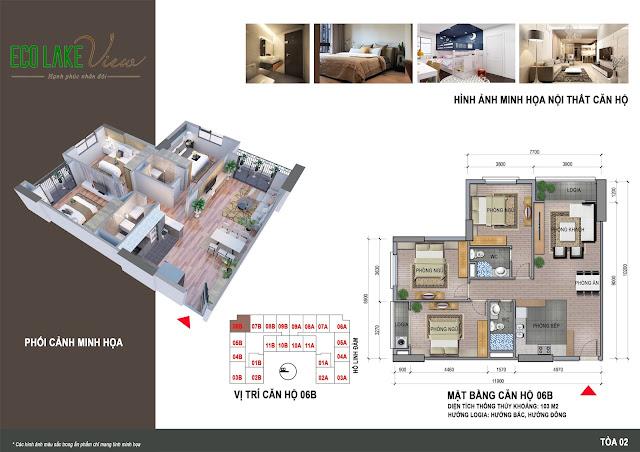 Thiết kế căn hộ 06B tòa HH2 chung cư ECO LAKE VIEW