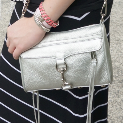 AwayFromTheBlue | Rebecca Minkoff metallic mini MAC silver and pink bracelet stack